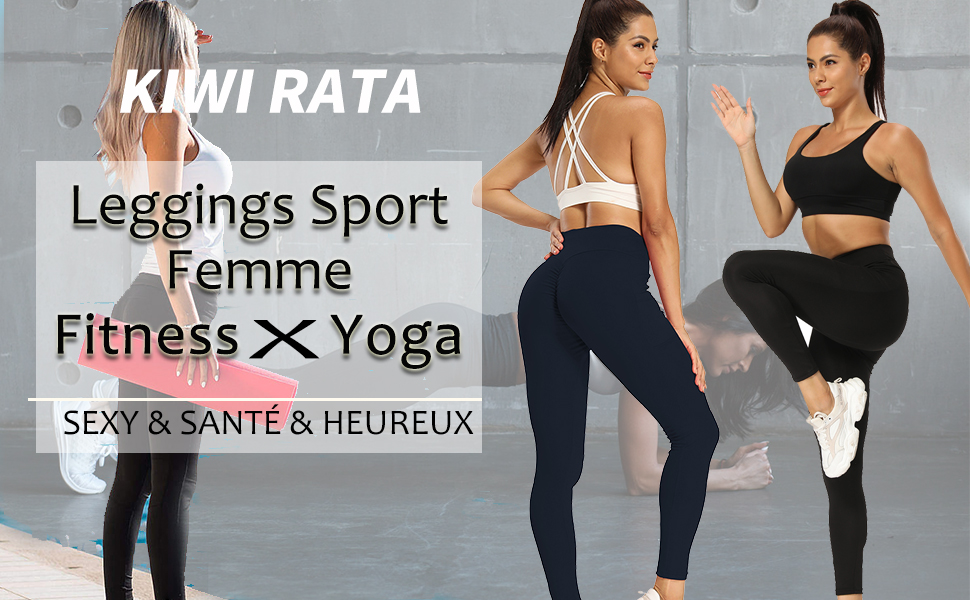 KIWI RATA Leggings de Sport Femme Taille Haute legging Push Up Effet Compression Anti Cellulite Pantalon avec Top T-Shirt Manches Longues Ensemble Sans Couture pour Jogging Yoga Fitness Pilates