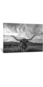 texas canvas art for living room, cow print in frame, framed african art, texas home decor wall