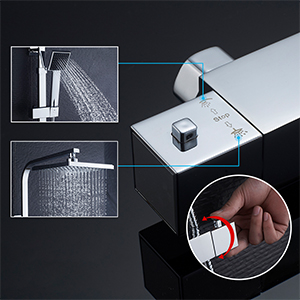 Auralum Sistema Ducha Termostato Cuadrado Set de Ducha con ...