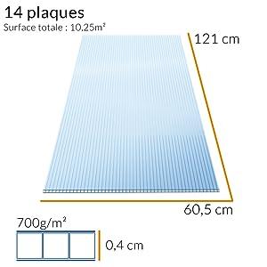 Fenêtres plaque polycarbonate 60,5 x 121cm taille normée bricolage abri d´auto plaques double couche