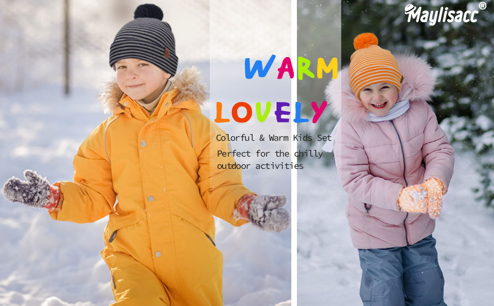 kids hats and gloves set
