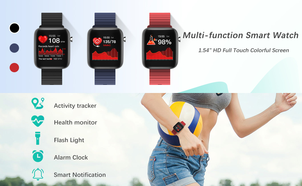 smart watch heart rate monitor blood pressure blood oxygen step counter