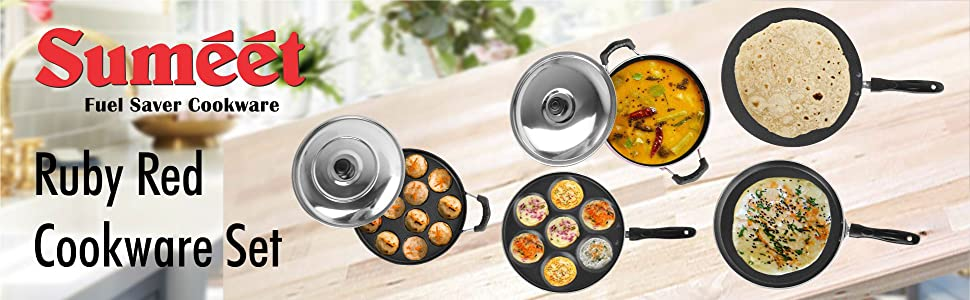 SUMEET RUBY RED COOKWARE SET