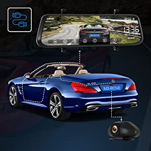 Simple & easy Install front & rear dual-lens record car camera on IPS LCD Mirror Monitor live view