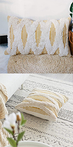 sqaure tassels throw pillow cover white cream beige pillow case farmhouse home décor pillow sham