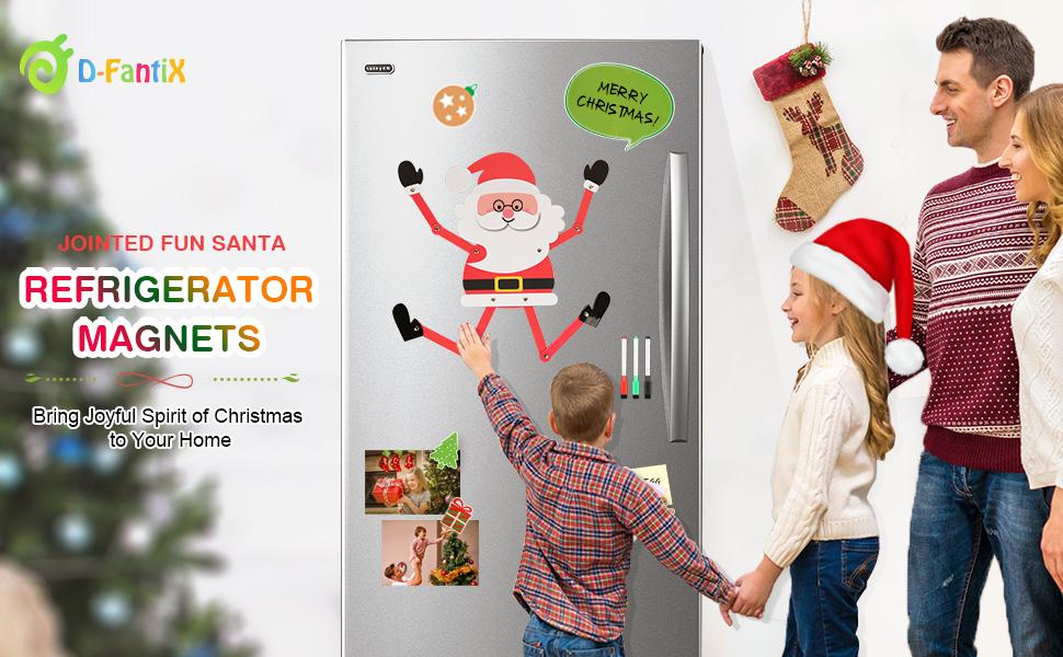 Amazon Com D Fantix Jointed Fun Santa Christmas Refrigerator Magnets 3d Movable Holiday Fridge Magnets Kids Diy Cute Christmas Magnet Set For Garage Door Christmas Decorations Kitchen Dining