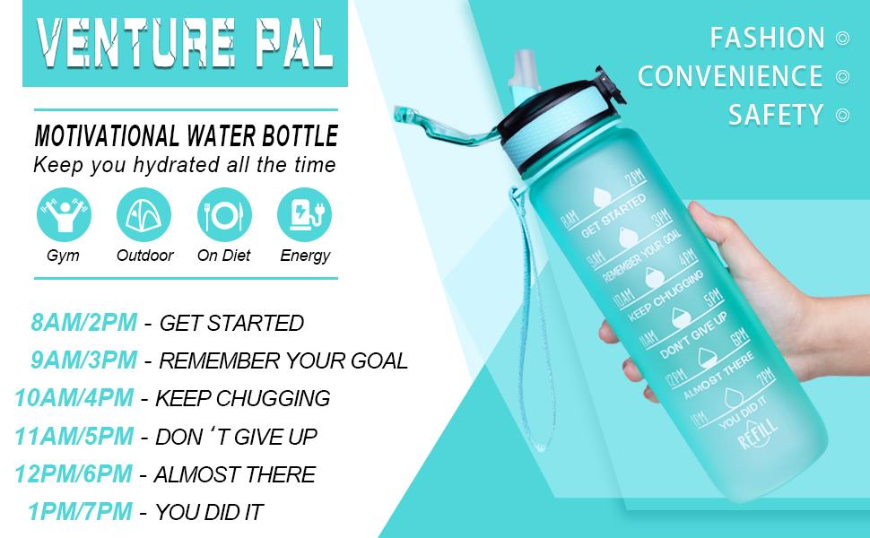 Venture Pal 32Oz//22Oz Motivational Fitness Sports Water Bottle W Time Marker /& S