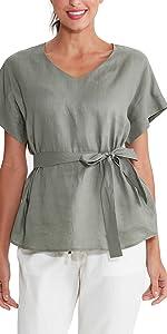 Amazhiyu Women/'s Linen Crewneck Tank Tops Cap Sleeves Summer Blouse Casual