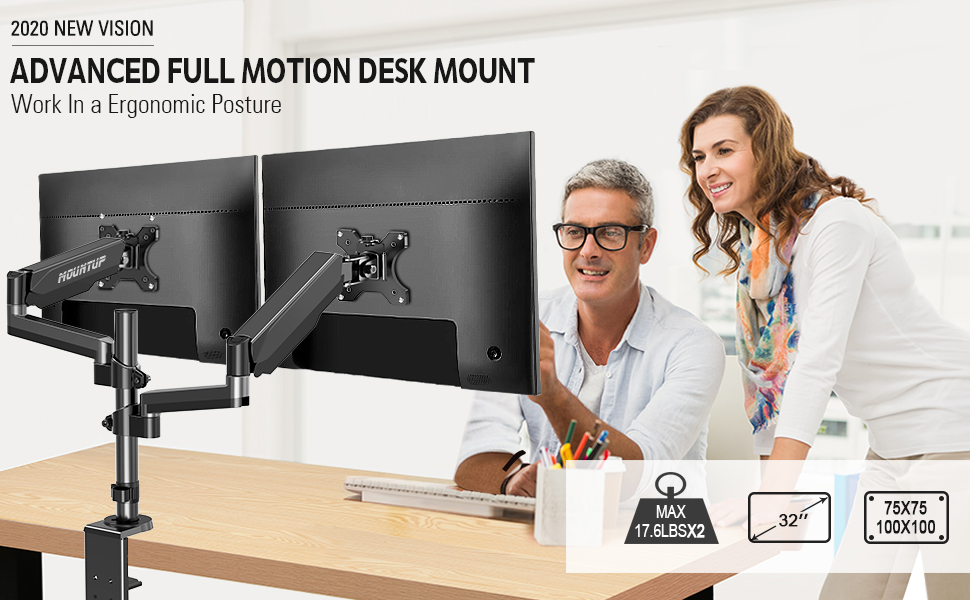 32 inch dual monitor stand 2 monitor desk mount monitor arms for 2 monitors vesa dual monitor stand