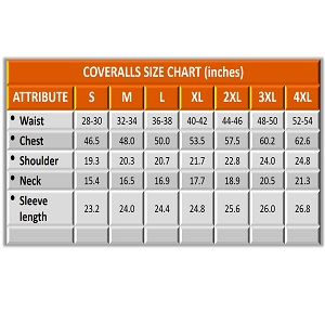 Flame Resistant FR Coverall - SIZE CHART