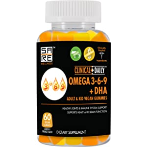 Studio Image of the Omage 3-6-9 + DHA Supplement Bottle