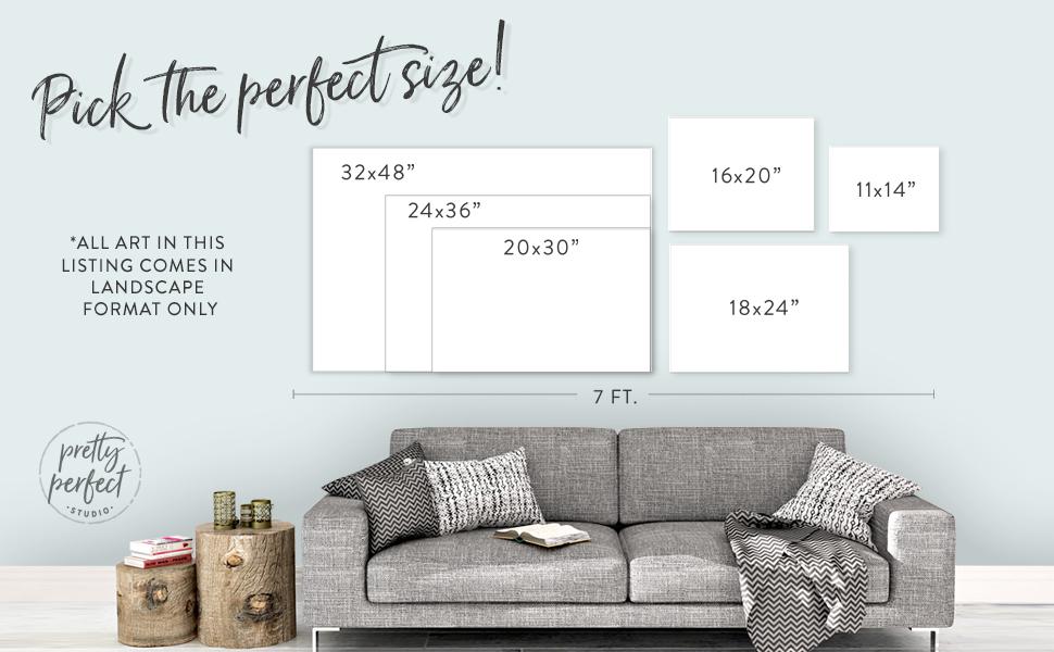 """pretty perfect studio 11x14"""", 16x20"""", 18x24"""", 20x30"""", 24x36"""", 32x48"""" wall art sizing chart"""