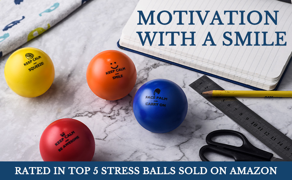 Motivation with a smile. Rated Top 5 stress balls sold on Amaznon. Best Stressballs, work stressball