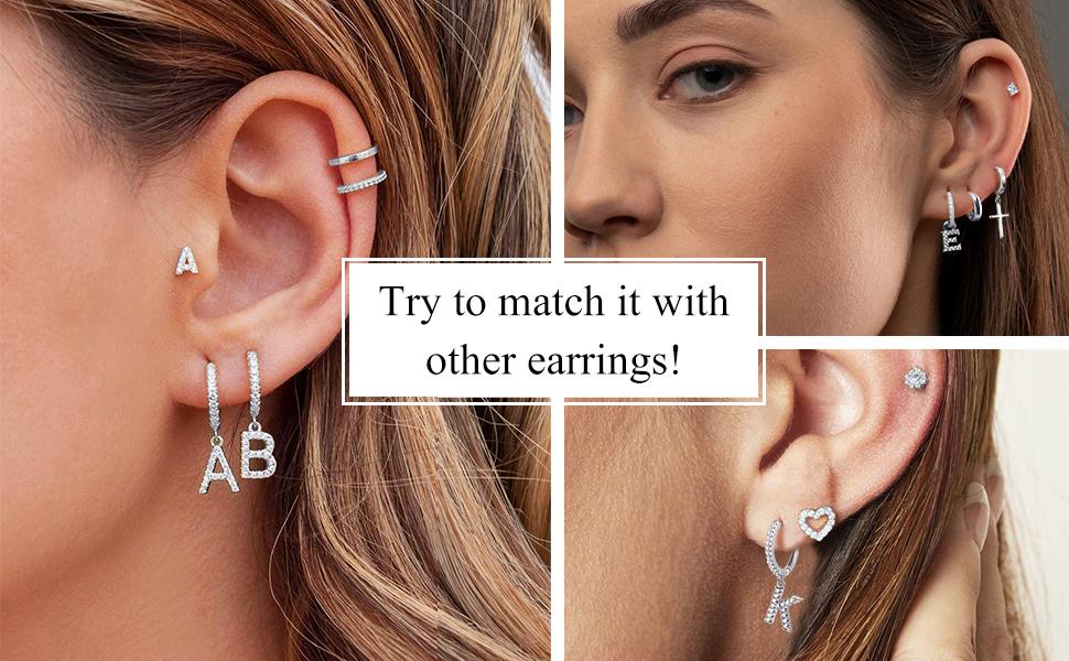 Name Initial Alphabet Letter Earrings for Women Girls Men Boys