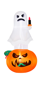 Inflatable Ghost Pumpkin with Snake