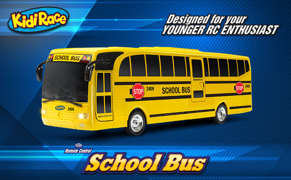 High-Speed RC Cars for Boys and Girls/… Rechargeable Battery Kidirace Remote Control School Bus with Beaming Lights