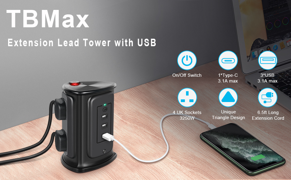 power strip tower with usb c power strip surge protector extension lead tower surge protection