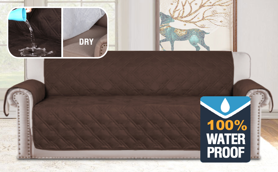 H.VERSAILTEX 100% Waterproof Extra-Wide Couch Cover for Dogs Non-Slip Oversized Sofa Covers for Leather Couch, Seat Width Up to 78 Inch Washable ...
