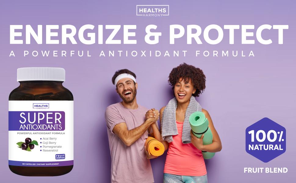 Antioxidant Supplement - Natural Ingredients - Superfood Blend - Acai, Goji Berry, Pomegranate, Noni