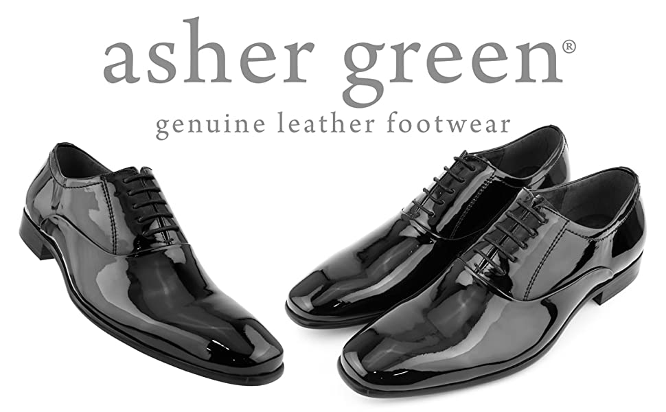 Asher Green Men/'s Genuine Leather High Shine Patent Plain Toe Oxford