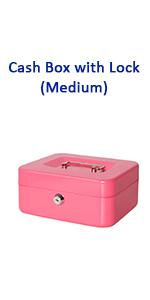 cash box with key lock pink