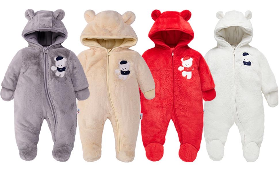 0-24 Monate HUBA Neugeborenes Baby Strampler Overall Kapuze Gestrickte Jumpsuit Winter w/ärmer Outwear Sweater Kleidungsset