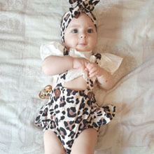Baby Girls Leopard Ruffle Romper with Headband
