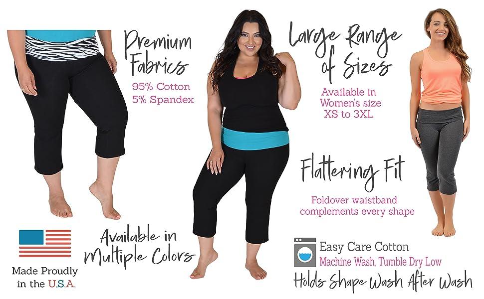Stretch Is Comfort Womens Plus Size Capri Yoga Pants