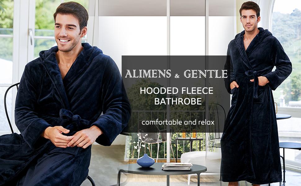 hooded flannel bathrobe