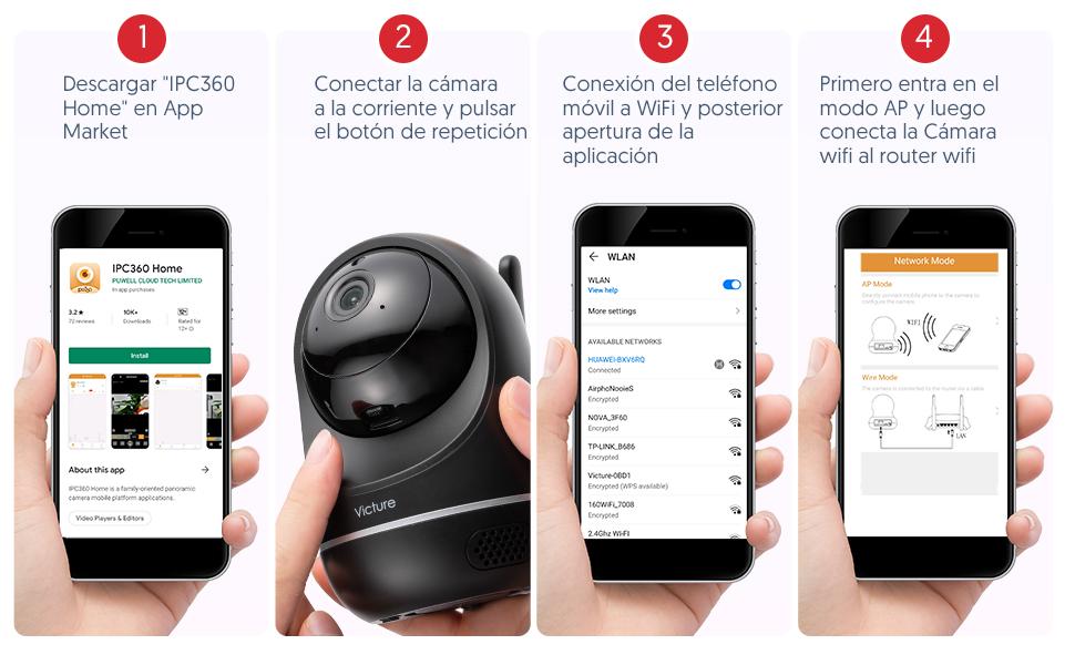 Victure Cámara Vigilancia WiFi, Actualizada 1080P DualBand 2.4G & 5G, Cámara IP WiFi, HD Visión Nocturna, Audio de 2 Vías,Detección de Movimiento Via ...