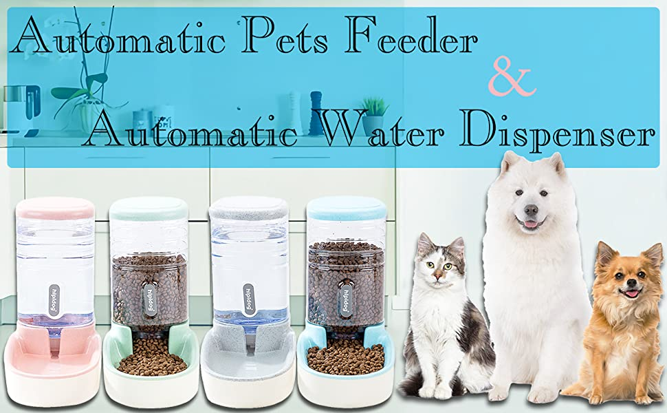 UniqueFit Pets Cats Dogs Automatic Waterer and Food Feeder Big Capacity 3.8 L