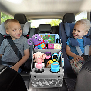 Multifunctional Front & Backseat Car Seat Organizer for Kids with Movable Dividers