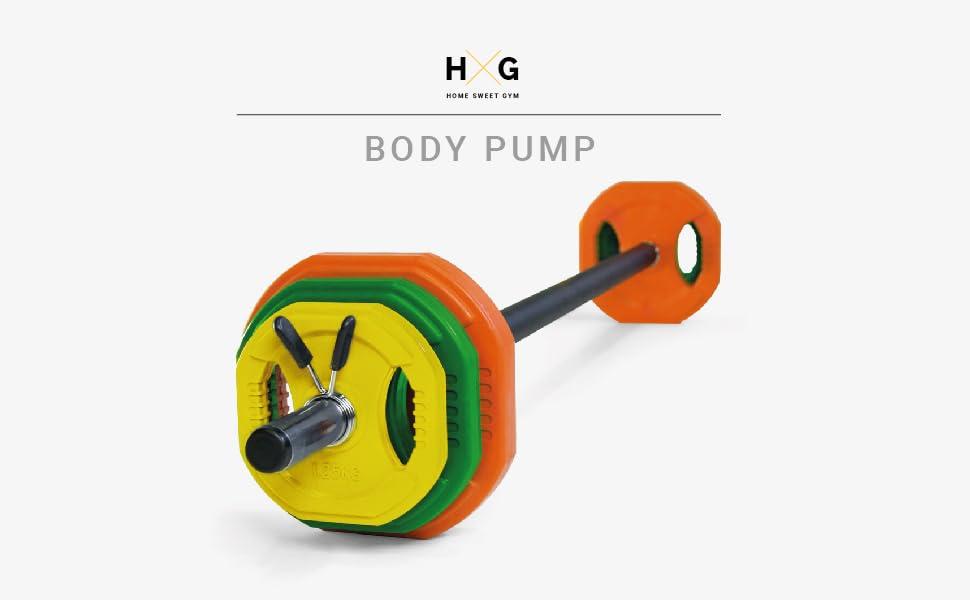 JOWY Juego Body Pump, Juego con Discos y Barra combinables hasta 17,5 kg, Ideal para la práctica de Ejercicios de Crossfit o musculación y finess. Tu ...