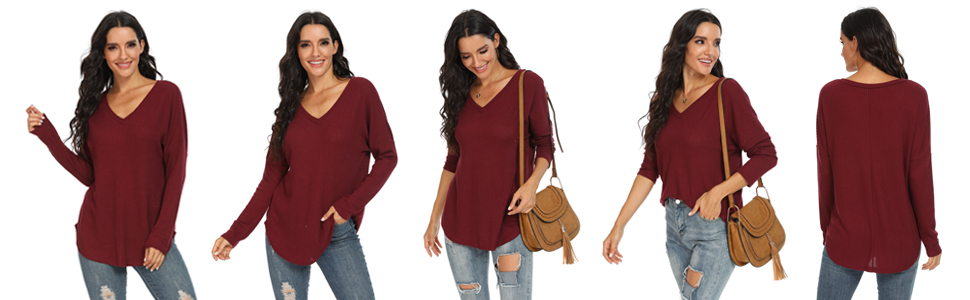 IWOLLENCE Women's Waffle Knit Casual Tunic V Neck Off Shoulder Shirt Batwing Sleeve Loose Tops