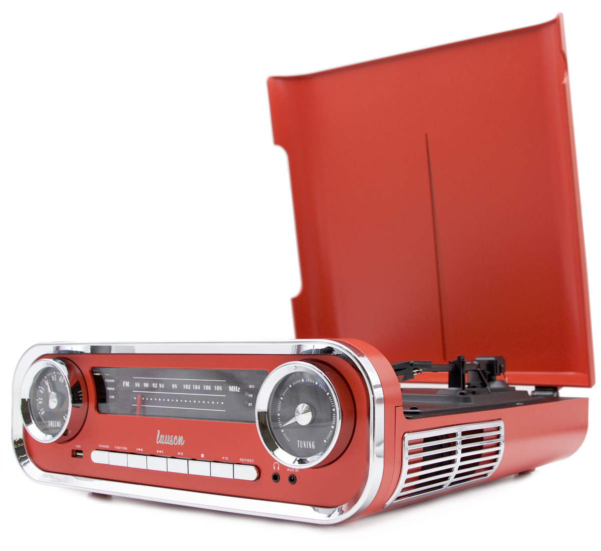 Lauson 01TT18 Platine Vinyle Vintage Design Car Collection 2 Haut-Parleurs St/ér/éo 3W Int/égr/és Bleu Encoding Bluetooth 78 RPM 45 USB Lecteur Vinyle 3 Vitesses 33 Tourne Disque et Radio FM