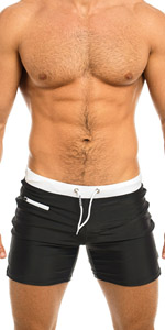 Taddlee Men's Swimwear Swim Shorts Trunks Square Cut Black Blue Swimsuits Boxers