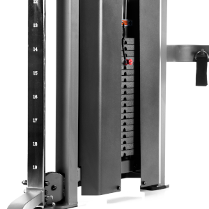 An up-close view of one of the 200 lb. weight stacks on the XMark functional trainer