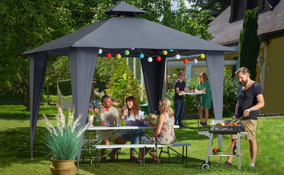 Deuba Pabellón de Jardín cenador Sairee Antracita 3, 5x3, 5m Carpa para Playa Patio Impermeable para Eventos Fiestas Camping: Amazon.es: Jardín