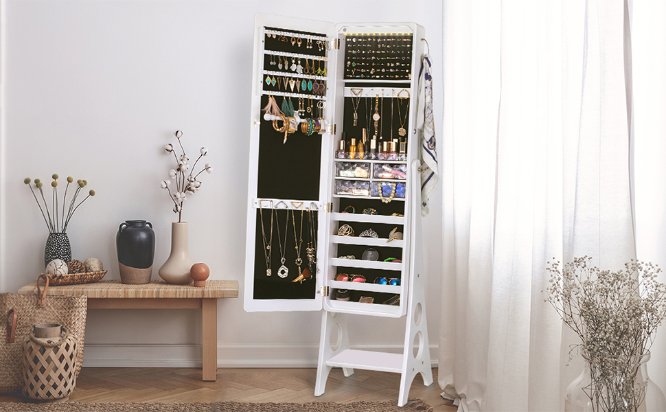 LED Jewelry Cabinet Armoire