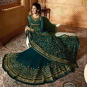 Turquoise Anarkali Salwar Suit