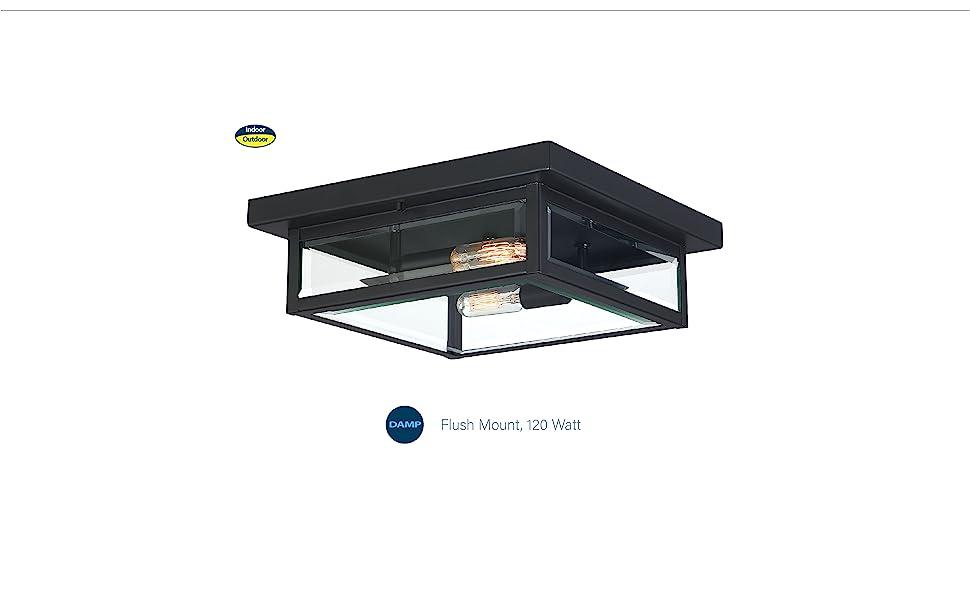 flush mount light, mission style light, edison bulbs, antique lighting, clear seeded glass,