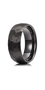 black hammered tungsten ring