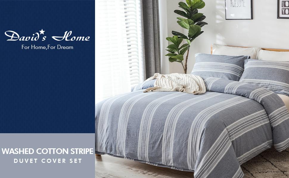 Washed Cotton Stripe Duvet Cover Set