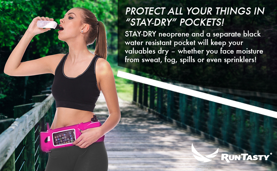 dry pockets running fitness hydration belt neoprene essentials water resistant