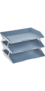 acrimet facility letter tray 3 tier side load solid blue color