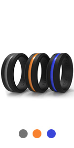 middle thin line orange blue grey rings sturdy bands for men silicon workout plastic rings sports