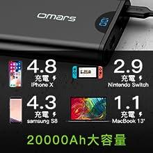 20000mAh 45W USB C 充電バッテ リー USB 2ポート  モバイルバッテリー  スマホ充電器   バッテリー  携帯充電器 急速充電器  2台同時充電 携帯バッテリー