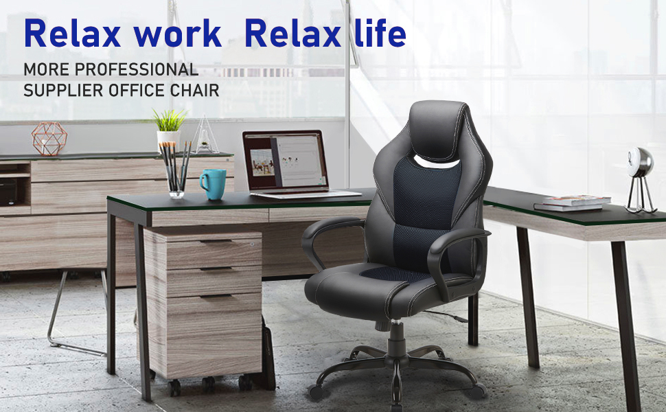 BASETBL Office Desk Chair Racing Style Home Ergonomic Executive Swivel Gaming Computer Chair