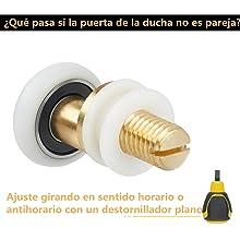 LAANCOO Parte Puerta de Ducha Rodillo Rueda impulsora de Vidrio ba/ño reemplazo Puerta 4