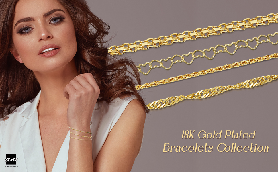 Amberta 18K Gold Plated on Sterling Silver Chain Bracelets - Different Styles and Sizes